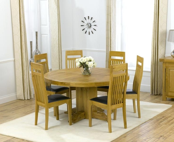 Round Dining Tables For 6 Solid Oak Round Pedestal Dining Table With Intended For Newest 6 Seater Round Dining Tables (View 6 of 20)