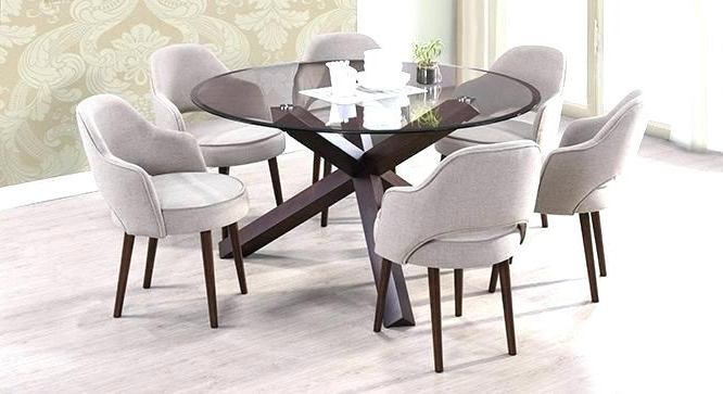 Round Dining Tables For 6 Solid Oak Round Pedestal Dining Table With Throughout Favorite Glass Dining Tables With 6 Chairs (View 13 of 20)