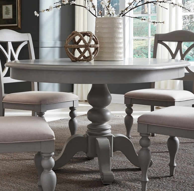 Round Extendable Dining Tables And Chairs Pertaining To Recent Liberty Summer House Dove Grey Round Extendable Dining Table (View 14 of 20)