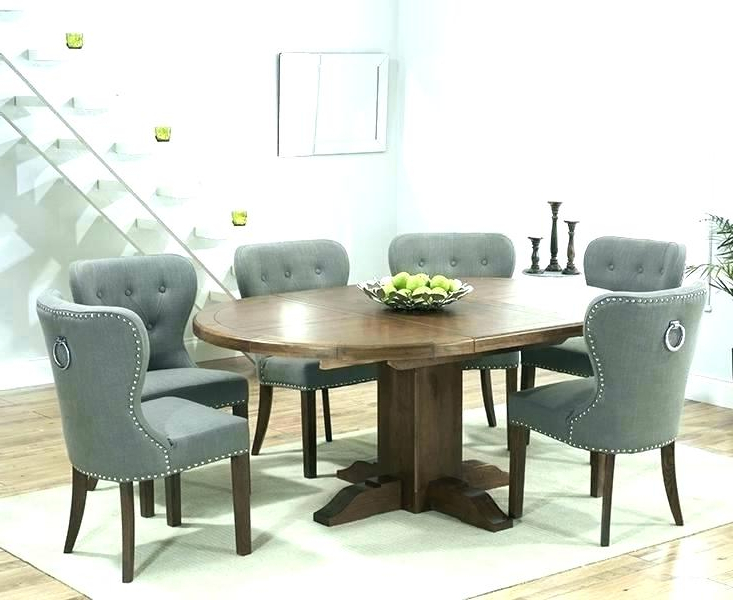 Round Extendable Dining Tables And Chairs With Latest Dining Table With Fabric Chairs Solid Oak Round Extending Dining (View 15 of 20)