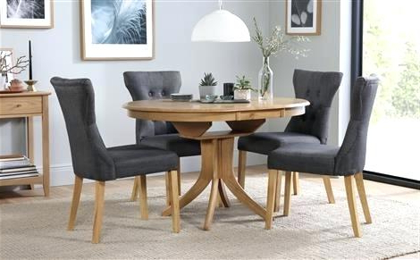 Round Extending Dining Tables And Chairs In Fashionable Round Dining Table Brooks Round Dining Table Dining Table Sets (View 12 of 20)