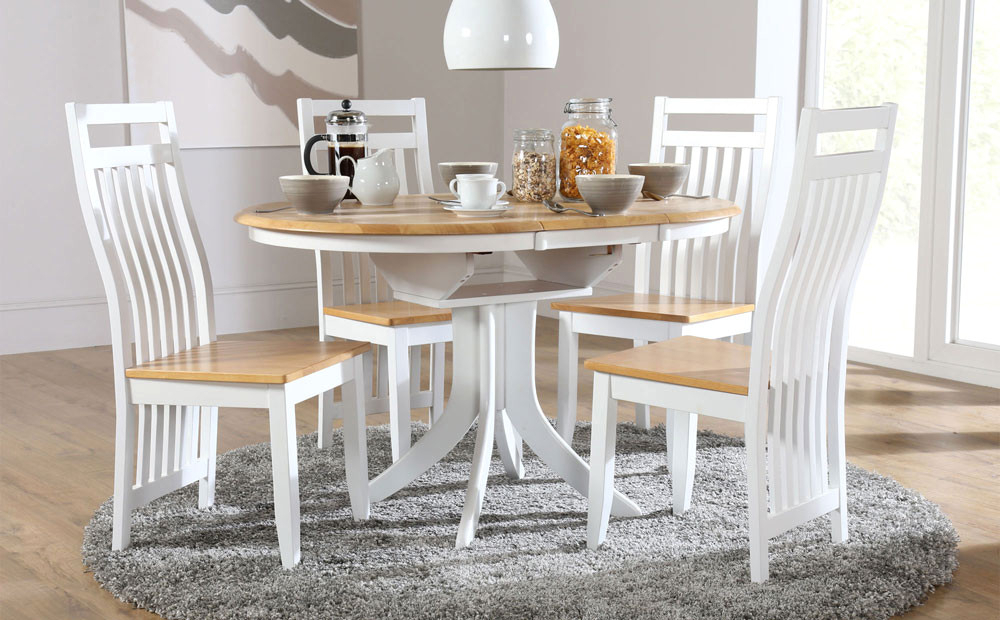 Round Extending Dining Tables And Chairs With Famous Creative Hudson White Two Tone Round Extending Dining Room Table And (View 12 of 20)