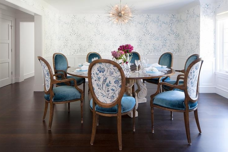 Round French Dining Table With Blue Velvet Oval Back Dining Chairs In Most Current Blue Dining Tables (View 14 of 20)