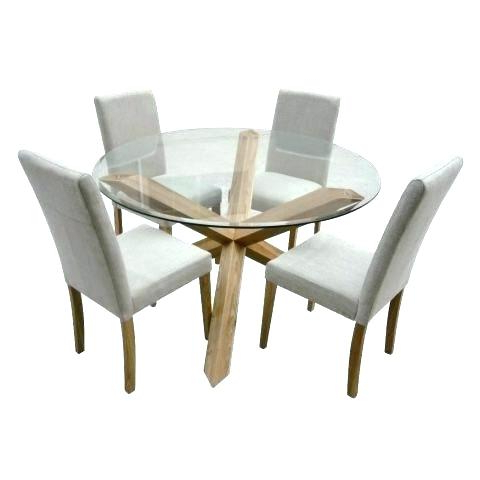 Round Glass And Oak Dining Tables Pertaining To Newest Round Oak And Glass Dining Table Dining Tables White Glass Dining (View 14 of 20)