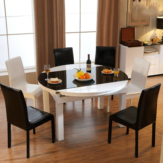 Round Glass And Oak Dining Tables With Newest Scalable Round Glass Dining Table Minimalist Modern Fashion Piano (View 15 of 20)