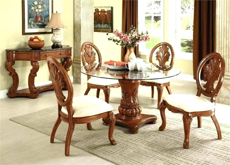 Round Glass And Wood Dining Table Top Set Impressive Breakfast Chai With Recent Magnolia Home Breakfast Round Black Dining Tables (View 19 of 20)