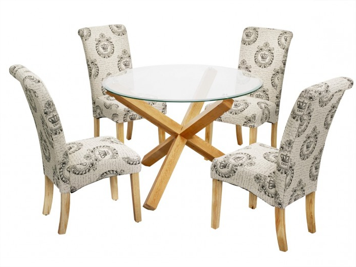 Round Glass Dining Tables With Oak Legs Intended For Most Recent Oporto Kensington Dining Set (Gallery 10 of 20)