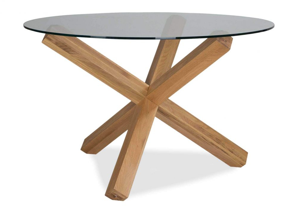 Round Glass Dining Tables With Oak Legs With Widely Used Glass Top Round Table – Turin – Ez Living Furniture (View 2 of 20)