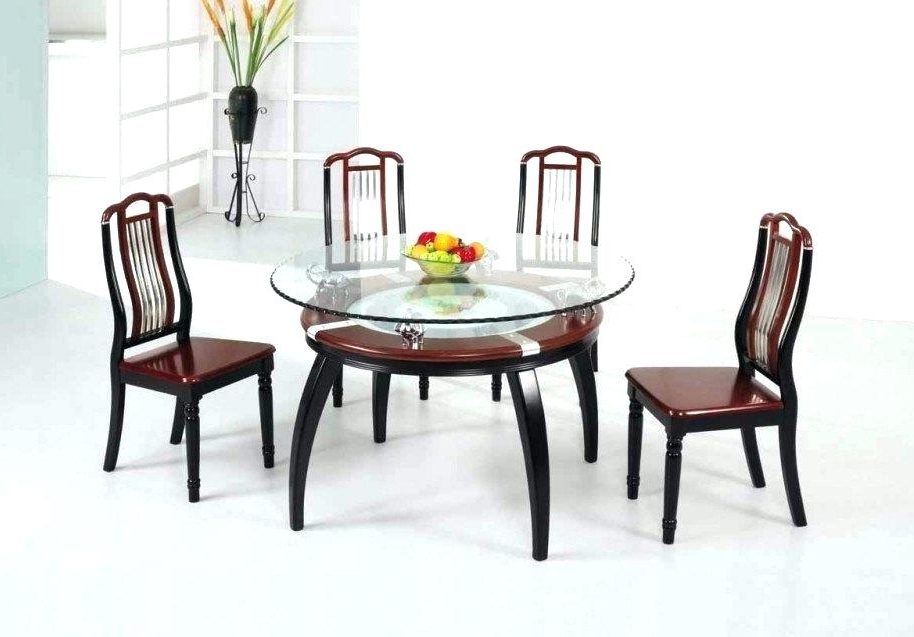 Round Glass Top Dining Table Set With Wooden Legs – Anonbay Throughout Preferred Wood Glass Dining Tables (View 8 of 20)