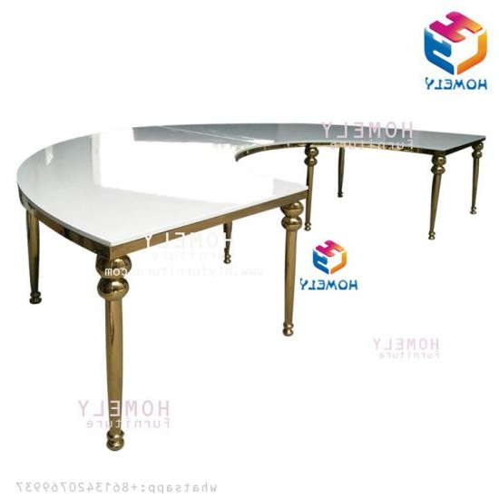 Round Half Moon Dining Tables For Well Known China Mirror Glass Round Half Moon Wedding Stainless Steel Dining (View 15 of 20)