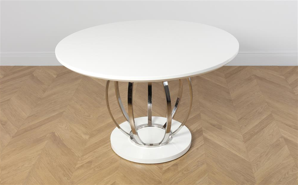 Round High Gloss Dining Tables Throughout Preferred Savoy Round White High Gloss And Chrome Dining Table Only £ (View 15 of 20)