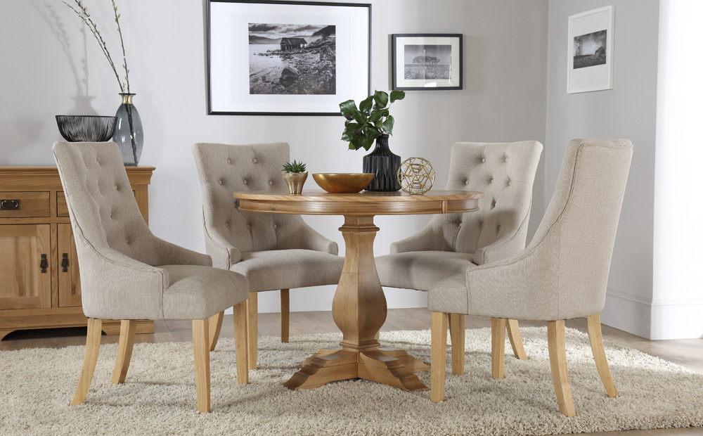 Round Oak Extendable Dining Tables And Chairs In Most Up To Date Cavendish Round Oak Dining Table And 4 Fabric Chairs Set (Duke (Gallery 15 of 20)