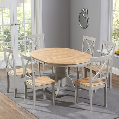 Round Oak Extendable Dining Tables And Chairs Intended For Well Known Elson Round Oak And Grey 6 Seater Extending Dining Set (View 16 of 20)