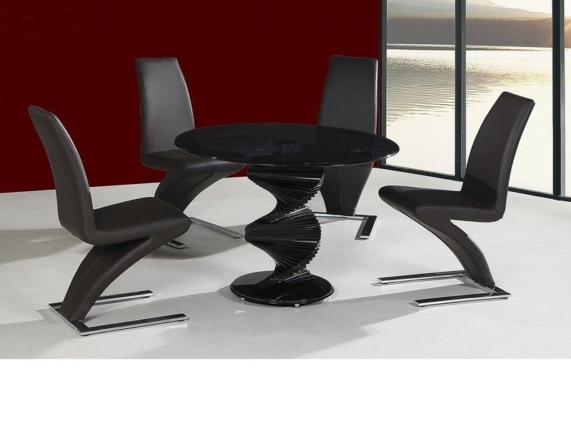 Round Twirl Glass Dining Table And 4 Chairs In Black – Homegenies With Recent Black Glass Dining Tables (View 17 of 20)