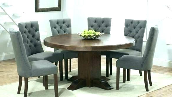 Round Wooden Dining Table For 6 – Kuchniauani Pertaining To Most Recently Released Dark Wood Dining Tables 6 Chairs (Gallery 11 of 20)