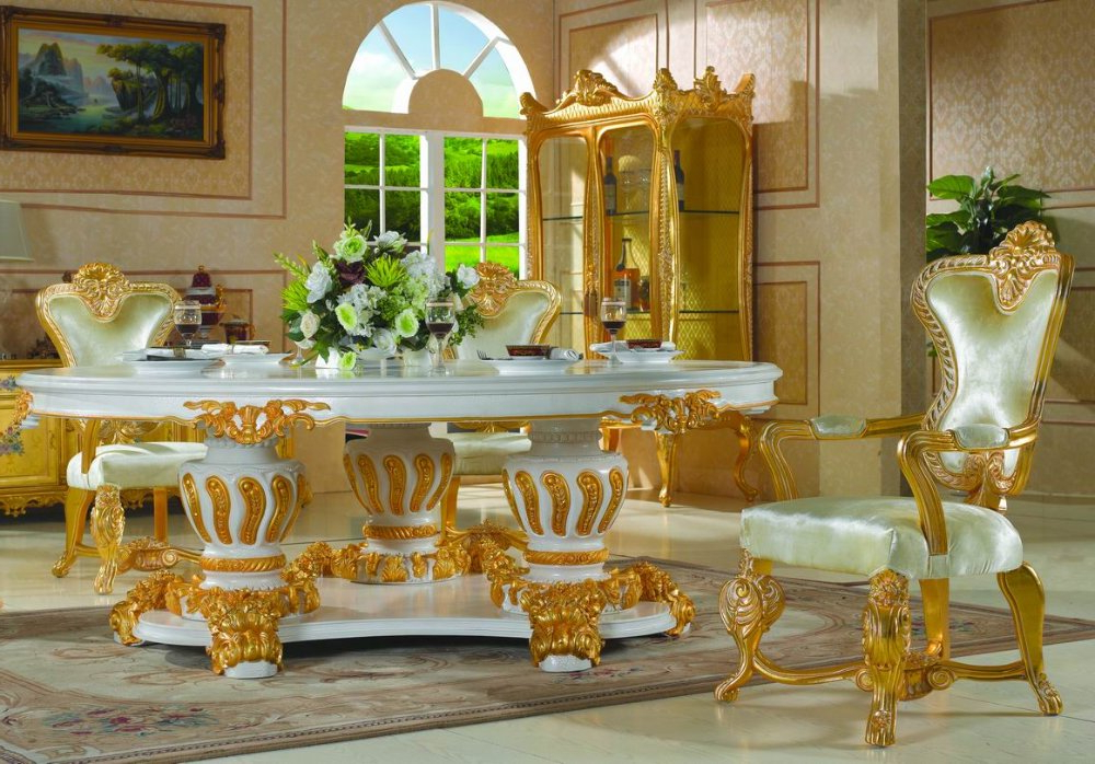 Royal Dining Tables With Most Recent Royal Classic Furniture Handwork Gilding Golden Foil Royalty Dining (View 4 of 20)