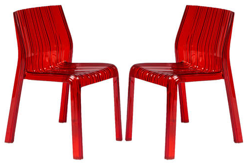 Ruffle Modern Red Dining Chair (Set Of 2)Leisuremod For Most Recent Red Dining Chairs (View 16 of 20)