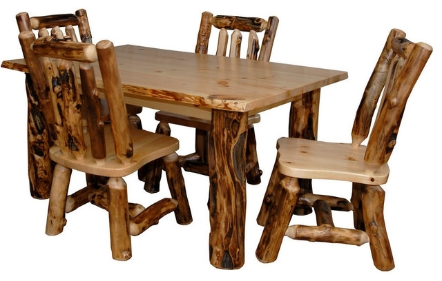 Rustic Aspen Log Kitchen Table Set With 4 Dining Chairs – Rustic For Newest Aspen Dining Tables (Gallery 10 of 20)