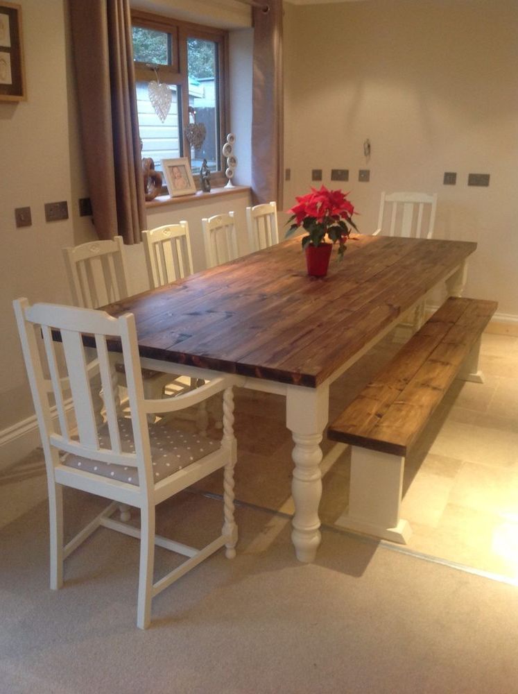 Rustic Farmhouse Shabby Chic Solid 10 Seater Dining Table Bench And With Regard To Well Liked Dining Table And 10 Chairs (View 18 of 20)