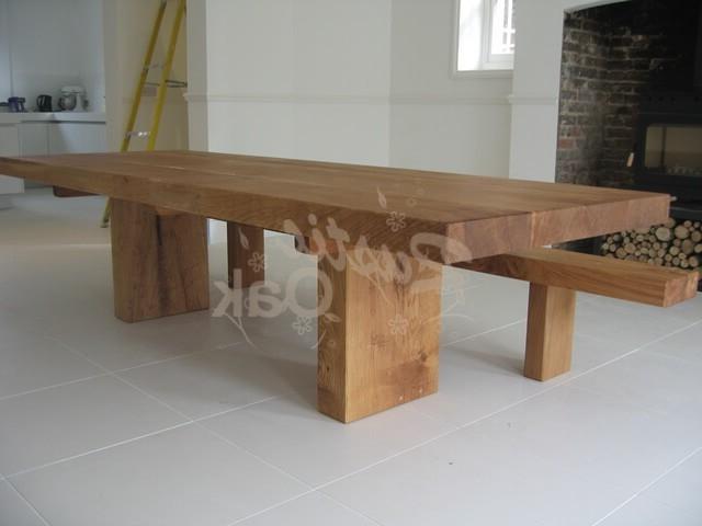 Rustic Oak – Chunky Oak Beam Dining Table Throughout Fashionable Rustic Oak Dining Tables (Gallery 1 of 20)