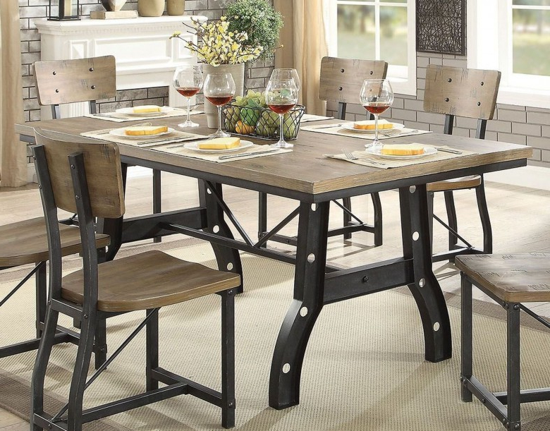 Rustic Oak Dining Tables With Regard To Fashionable Furniture Of America Kirstin Rustic Oak Dining Table – Kirstin (Gallery 16 of 20)