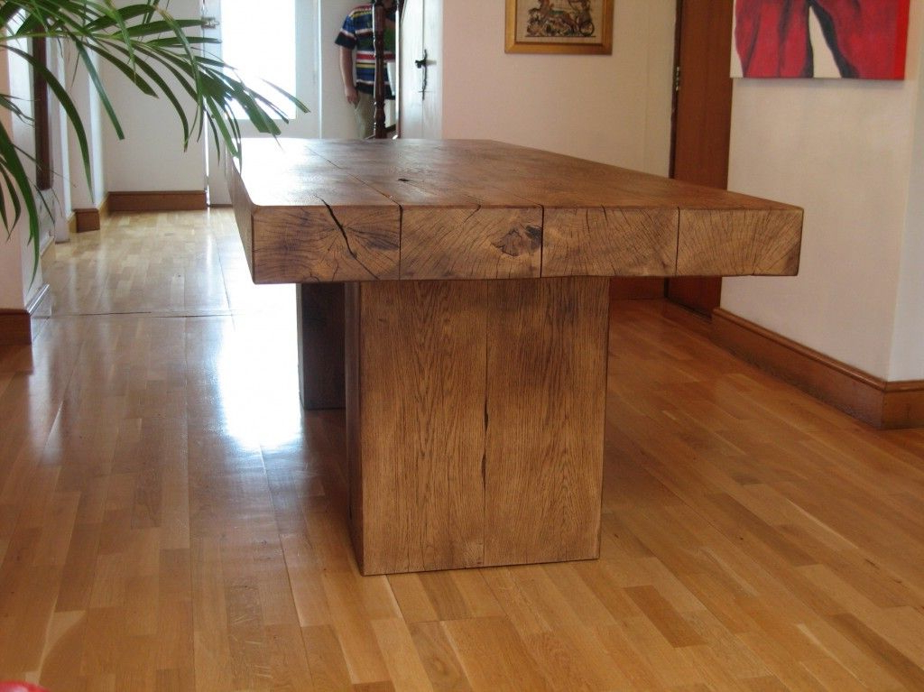 Rustic Oak Dining Tables Within Well Liked Chunky Oak Beam Dining Table In (View 11 of 20)