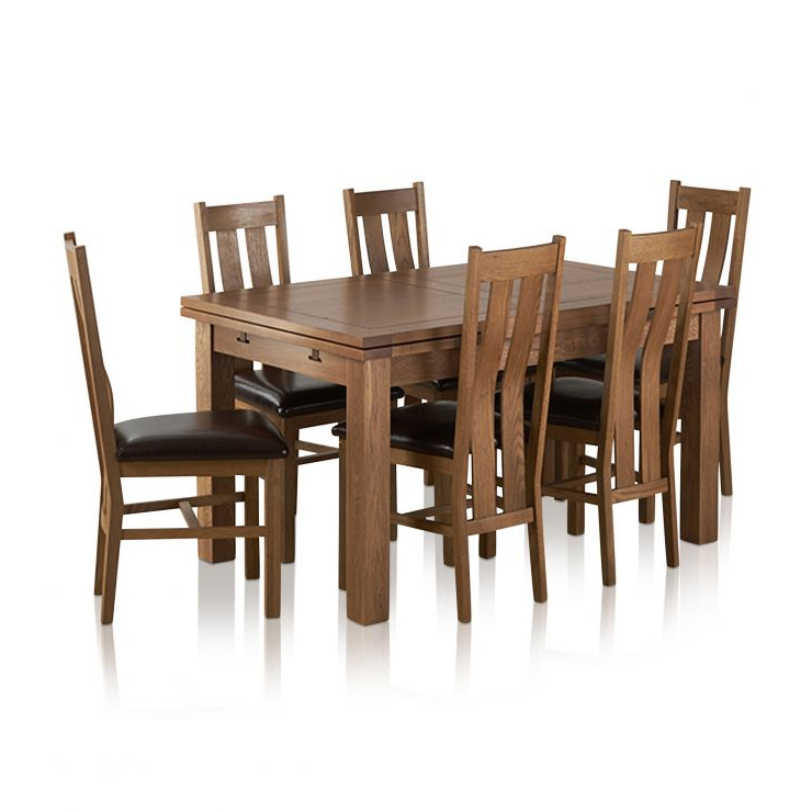 Rustic Oak Extending Dining Table + 6 Arched Back Leather Chairs Intended For Newest Extendable Dining Tables 6 Chairs (View 19 of 20)