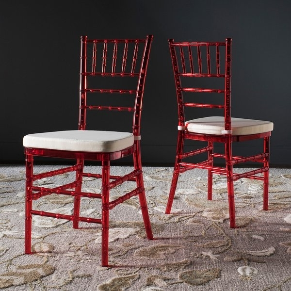 Safavieh Country Classic Dining Carly Red Dining Chairs (Set Of 2 For Trendy Carly Side Chairs (View 15 of 20)