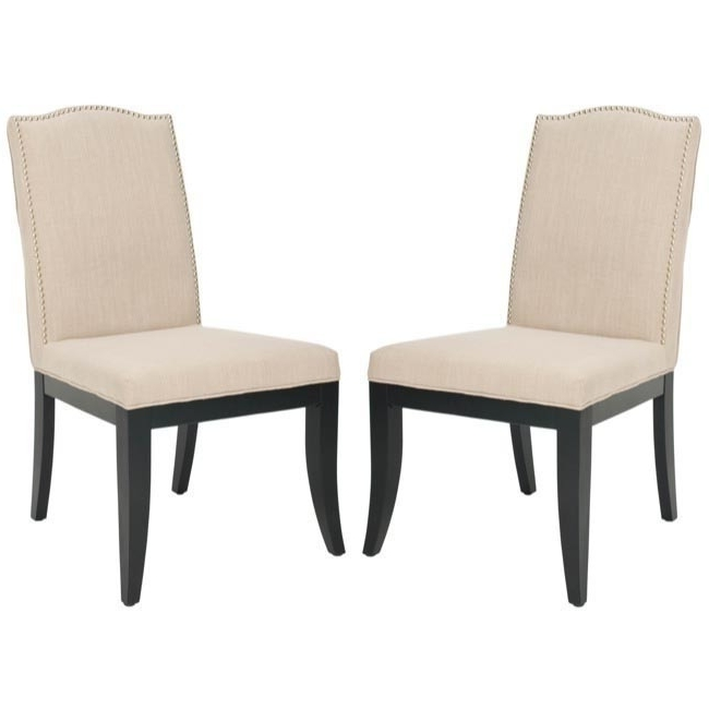 Safavieh En Vogue Dining Laurent Taupe Nailhead Dining Chairs (Set Regarding Most Recent Laurent Wood Side Chairs (View 15 of 20)