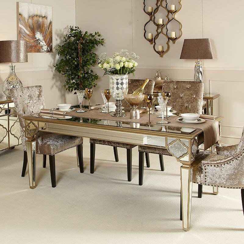 Sahara Marrakech Moroccan Rectangle Gold Mirrored Dining Table – Buy Within 2017 Mirrored Dining Tables (View 16 of 20)