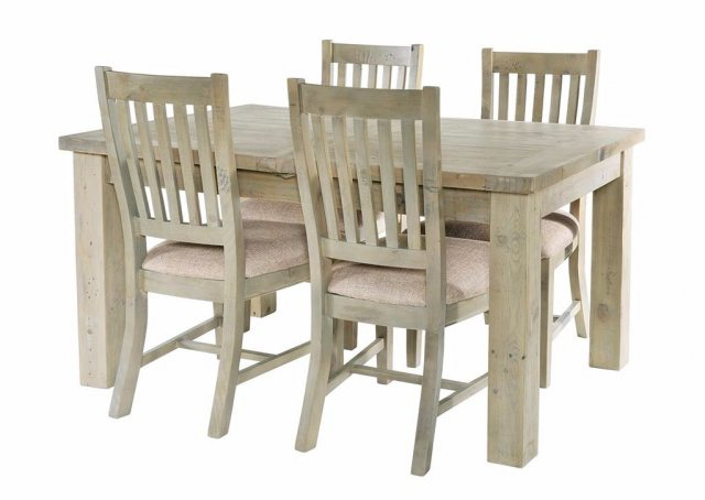 Salcombe Reclaimed Pine 140Cm Extendable Dining Table Set & 4 Chairs Intended For Most Popular Extendable Dining Table Sets (View 17 of 20)