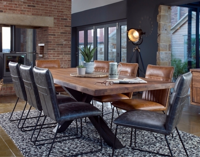 Samba Solid Oak 200Cm Holburn Star Base Dining Table & 6 Cooper For Popular Cooper Dining Tables (View 16 of 20)