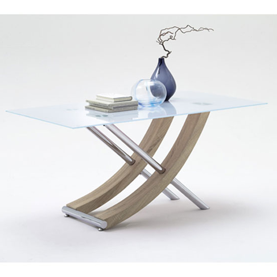 Samova Glass Dining Table In Rough Sawn Oak And Chrome Legs Pertaining To Current Glass Dining Tables With Oak Legs (View 9 of 20)