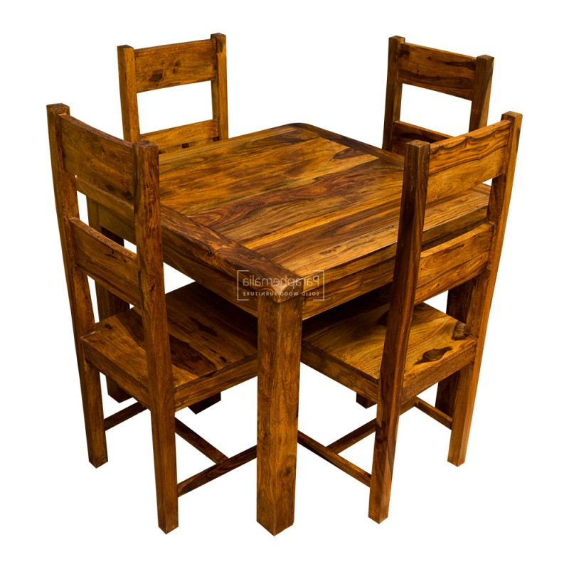 Samri Sheesham Square Dining Table & Four Chairs – Solid Sheesham For Most Up To Date Sheesham Dining Tables (Gallery 15 of 20)