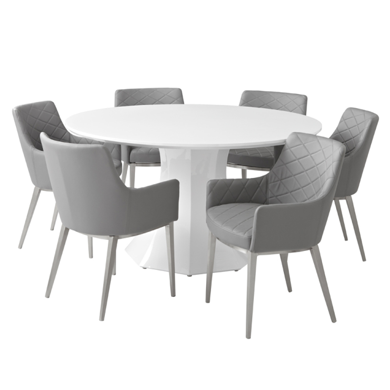 Sanara High Gloss White Round Dining Table (View 15 of 20)