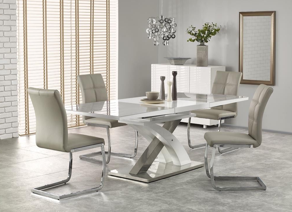 Sandor 2 160 220Cm Grey Glass & White High Gloss Modern Extendable Regarding Best And Newest White Gloss Dining Room Tables (View 10 of 20)