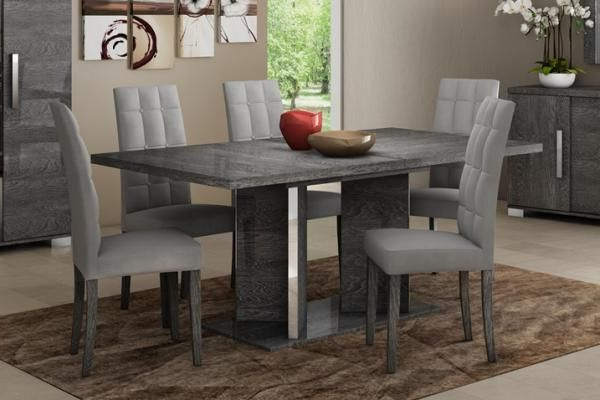 Sarah Collection, Extending Dining Table In Grey Birch Look Veneer Within Favorite Extending Dining Table And Chairs (View 16 of 20)
