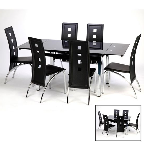 Sarah Extending Black Dining Table Set With 6 Bellini Chairs Within Best And Newest Black Glass Extending Dining Tables 6 Chairs (View 17 of 20)