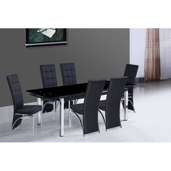 Sarah Extending Glass Dining Table With 6 Ravenna Dining Throughout Current Extendable Glass Dining Tables And 6 Chairs (View 16 of 20)