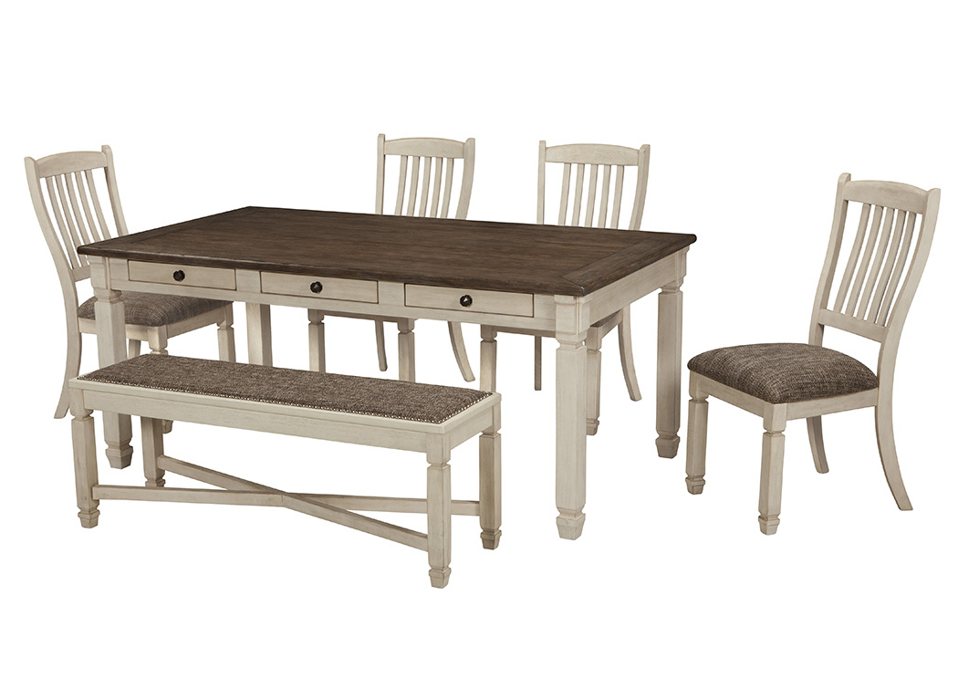 Scott's Furniture Bolanburg Antique White Rectangular Dining Room For Newest Craftsman 5 Piece Round Dining Sets With Uph Side Chairs (View 17 of 20)