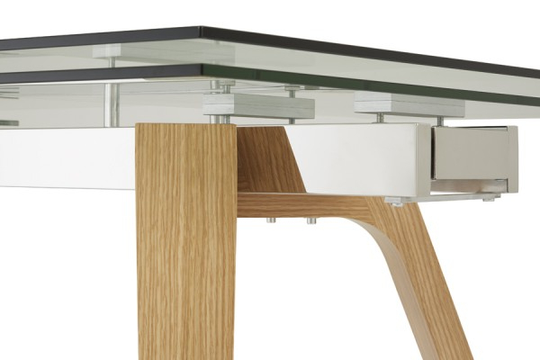 Serene Seville Extending Dining Table 160Cm/200Cm Clear Glass With Regarding Most Popular Glass Dining Tables With Oak Legs (View 17 of 20)