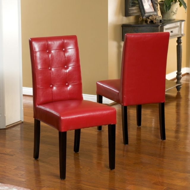 Set Of 2 Elegant Design Red Leather Dining Chairs W Tufted Button With 2017 Red Leather Dining Chairs (View 19 of 20)