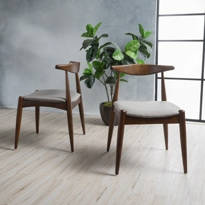 Set Of 2 Francie Mid Century Dining Chairs Beige/walnut Brown With Popular Caira 9 Piece Extension Dining Sets With Diamond Back Chairs (View 10 of 20)