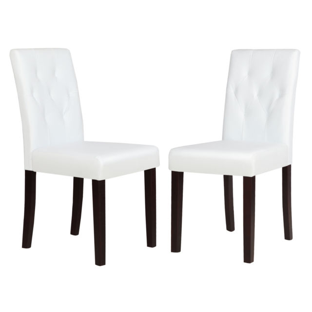 Set Of 2 Ivory White Leather Dining Room Chair Kitchen Dinette W Inside Well Known White Leather Dining Room Chairs (View 11 of 20)