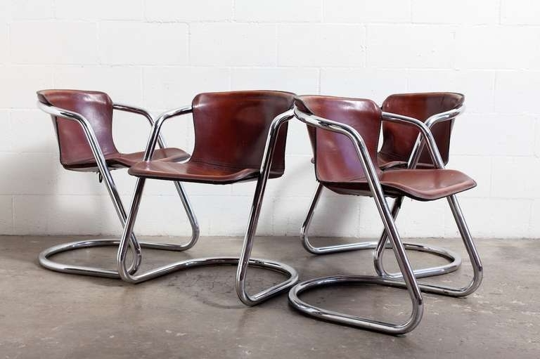 Set Of 4 Leather And Chrome Dining Chairs At 1stdibs For Current Chrome Dining Room Chairs (View 5 of 20)