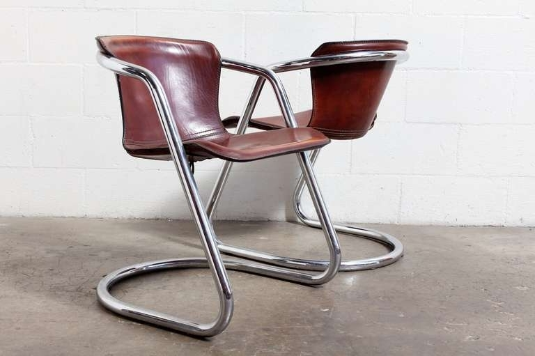 Set Of 4 Leather And Chrome Dining Chairs At 1Stdibs Top Grain With Regard To Fashionable Chrome Dining Chairs (View 18 of 20)