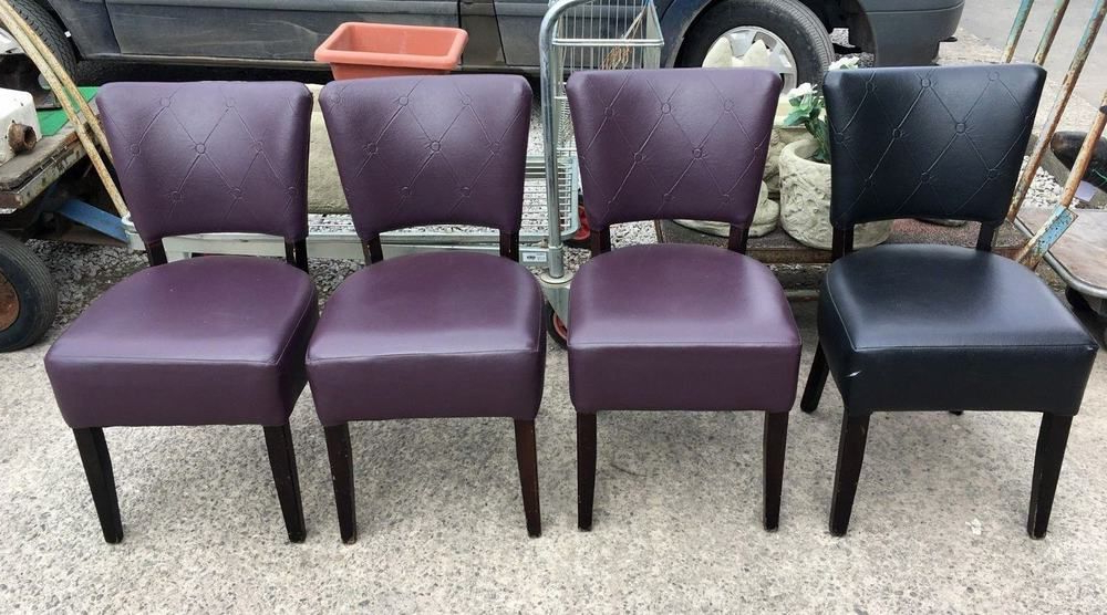 Set Of 4 Mix Purple / Black Faux Leather Dining Chairs / Cafe / Bar Inside Trendy Purple Faux Leather Dining Chairs (View 16 of 20)