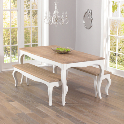 Seville Ivory Painted Distressed Dining Table With 2 Benches Within Popular Ivory Painted Dining Tables (Gallery 2 of 20)