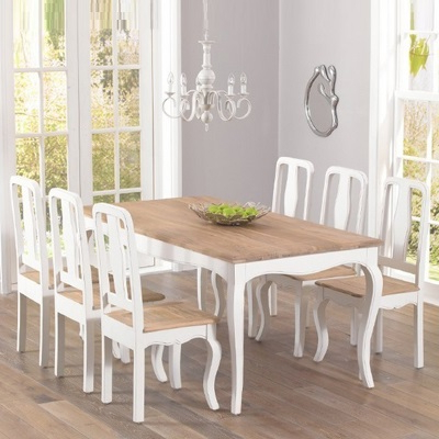Seville Ivory Painted Distressed Dining Table With 6 Chairs Within Well Known Ivory Painted Dining Tables (Gallery 8 of 20)