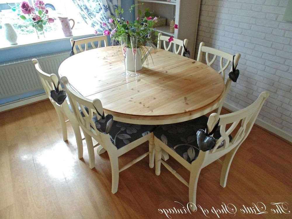 Shabby Chic Cream Dining Tables And Chairs Inside Preferred Ducal Solid Pine Extendable Kitchen Dining Table And 6 Chairs Shabby (Gallery 6 of 20)